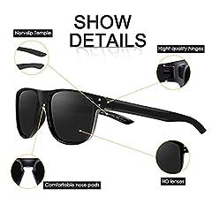CHEREEKI Mens Polarised Sunglasses, Polarized Sunglasses for Men Women with UV400 Protection and Ultralight Frame (Black) #2