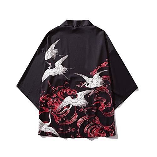 FRAUIT heren T-shirt print losse cardigan korte mouwen Japan Happi Kimono zomer Haori jas overgangsjas jas jas gebreide jas Yukata mantel baggy tops