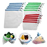 Bolsas Fruta Reutilizables, Cocina for guardar objetos 12 / 15Pcs reutilizable malla producir bolsas de vegetales comestibles Frutas almacenaje de las compras de Eco Bolsas de poliéster