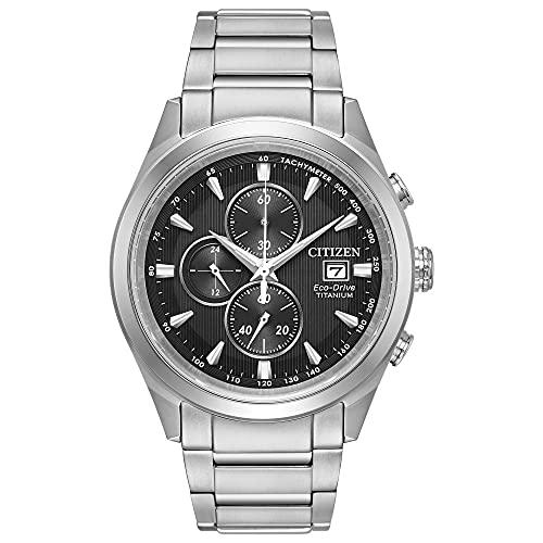 Citizen Eco-Drive Chandler Chronograph Mens Watch, Super Titanium, Weekender, Silver-Tone (Model: CA0650-58E)
