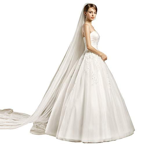 NgMik Elegant Weg Von Der Schulter Braut Kurzer Ärmel Langen Abend-Spitze Hochzeitskleid for Bräute Brautkleider Hochzeit Kittel (Farbe : White, Size : L)