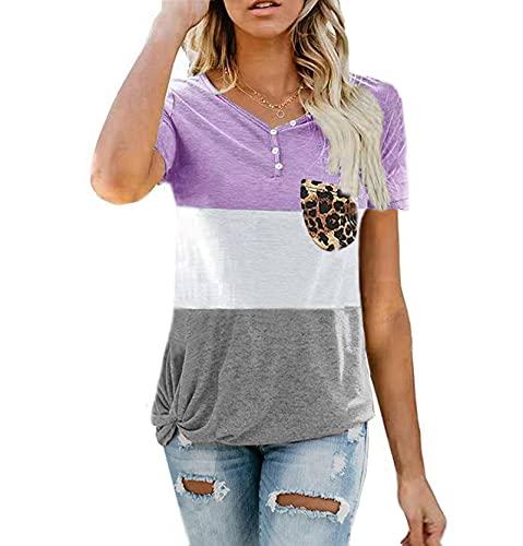 SLYZ Summer Ladies Casual Suelta De Gran Tamaño con Bolsillo Impreso Camiseta De Manga Corta Top Mujer