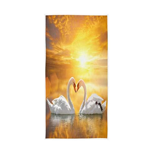 TropicalLife JNlover Tier Schwan Valentine Baumwolle Handtuch weich atmungsaktiv waschbar Gesicht Handtuch Gäste Fingerspitzen Handtuch für Küche Badezimmer Hotel Gym 76,2 x 38,1 cm