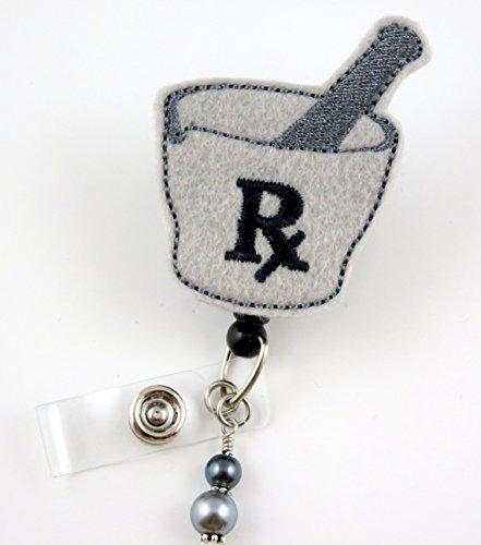 RX Pharmacy Gray and Black - Nurse Badge Reel - Retractable ID Badge Holder - Nurse Badge - Badge Clip - Badge Reels - Pediatric - RN - Name Badge Holder