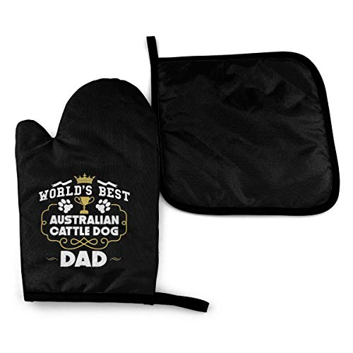 REONI World's Best Australian Cattle Dog Dad Gift Microwave Oven Mitts and Pot Holders Cover Set Heat Insulation Blanket Mat Pad Mittens Glove Baking Pizza Barbecue BBQ Accessories Home Kitchen Decor