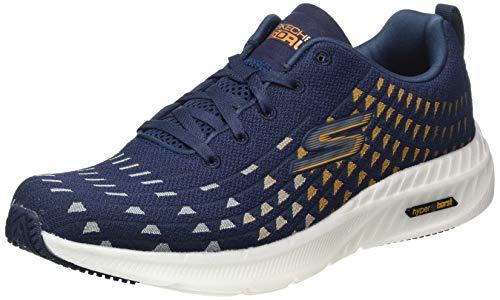 Skechers GO RUN SMART HYPER-SOLAR VIEW, Herren Lauflernschuhe Sneakers, Marineblaues Textilband mit goldfarbenem Rand, 45.5 EU