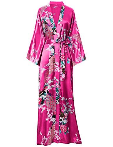 BABEYOND Damen Morgenmantel Maxi Lang Seide Satin Kimono Kleid Pfau Muster Kimono Bademantel Damen Lange Robe Schlafmantel Girl Pajama Party (Rose Rot)