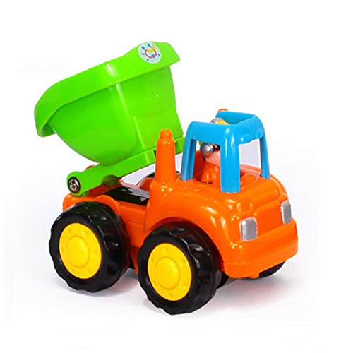 SSSabsir Children Baby Toy Cars Push and Go Toy Trucks Vehicles Set Dumper, Cement Mixer, Bulldozer Tractor Early Educational Cartoon Toys 326C dumper