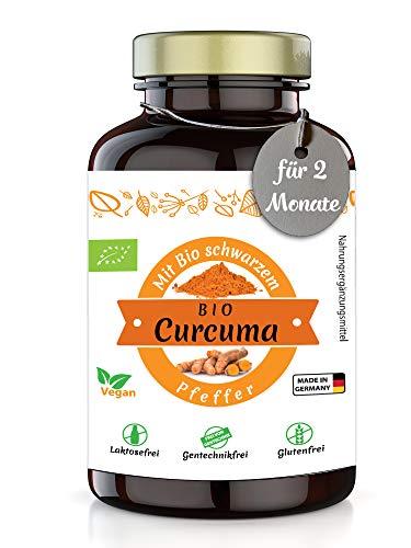 Healthland Curcuma Kapseln Bio hochdosiert mit Pfeffer DE-Öko-007 | 180 Stück Curcuma Kapseln Bio hochdosiert 4320 mg | Bio Kurkuma Kapseln hochdosiert vegan | Bio Curcuma mit Piperin