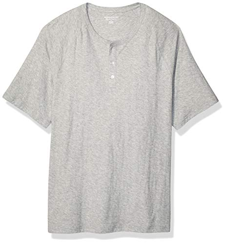 Amazon Essentials - Maglietta a maniche corte da uomo, vestibilità normale, in fiammato, scollatura Henley, Light Gray Heather, US XS (EU XS)