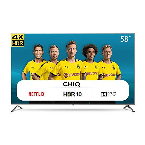 CHiQ Fernseher U58G7N UHD 4K Smart TV, 58 Zoll (146 cm), HDR 10 / hlg, WLAN, Bluetooth, Youtube, Netflix 5.1, Prime Video, HDMI, USB