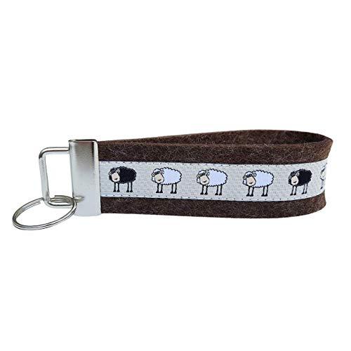 Schlüsselanhänger Schlüsselband Wollfilz dunkelbraun Webband Schafe weiß schwarz beige Geschenk
