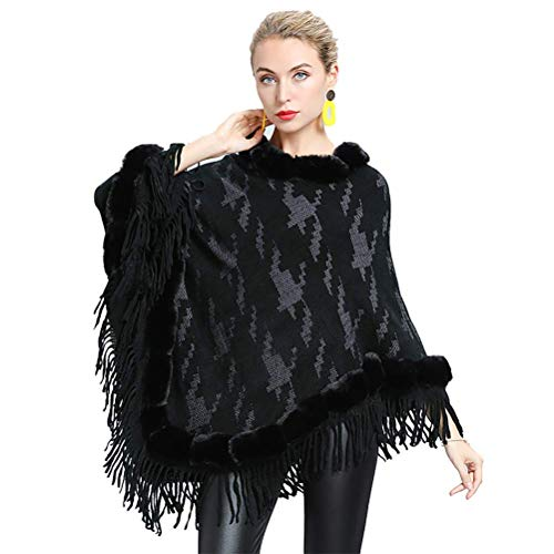 vannawong Poncho de punto asimétrico para mujer con borlas, para invierno, acogedor abrigo de pelo sintético, chaqueta de punto, moda Pull On Windproof Negro Tallaúnica