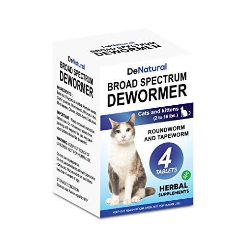 Cat Dewormer   Natural Health Supplements   Intestinal Cleanse  All Worm   Works for Kittens, Medium and Large Cats   4 Tablets   One-time Treatment