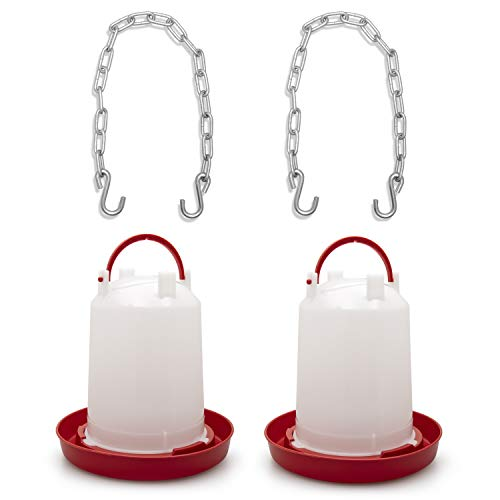 NTSY 2 Pack 3 Liter Poultry Drinker Plastic Red Gravity Waterer Heavy Duty Manual Refill Jug Indoor Outdoor Easy Fill Easy Clean Complete with 2 Hanging Chains