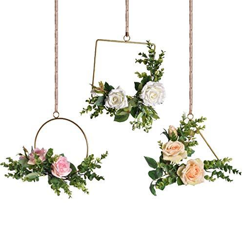 Pauwer - Corona Decorativa da Parete, Fatta a Mano, per Esterni, Ghirlanda per Porta, Rose, Ghirlanda di Fiori, Decorazione per paesaggi