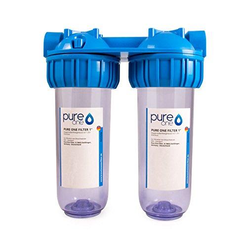 """Preisvergleich Produktbild PureOne Doppel Wasserfilter-Gehäuse 10 Zoll / Inklusive Teflonband / 1"""",  3 / 4""""oder 1 / 2"""" IG Anschluss / 2 Filter Stufen für 10 Zoll Wasserfilter Patronen / Hauswasserwerk,  Brunnen,  Zisterne 1 Zoll"""