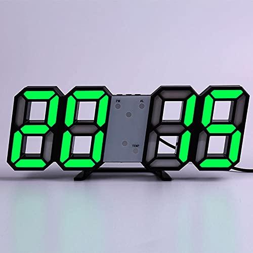 Reloj de Pared Digital LED 3D,Diseño Moderno de Decoración de Sala de Estar Reloj de Pared de Escritorio de Mesa Luminosa con Luz Nocturna