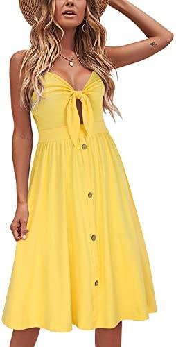 VOTEPRETTY Womens Summer Sundress V Neck Tie Front Spaghetti Strap Dresses with Pockets Yellow product image