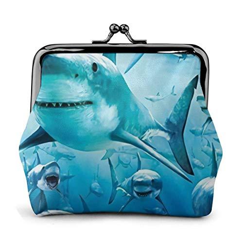 Funoshima Shark Bath Frauen/Mädchen Exquisite Münztaschen mit Verschluss Tragen Sie auf Ihren Lippenstift, kleine Kosmetika, Schlüssel und einige Münzen usw. Dail auf