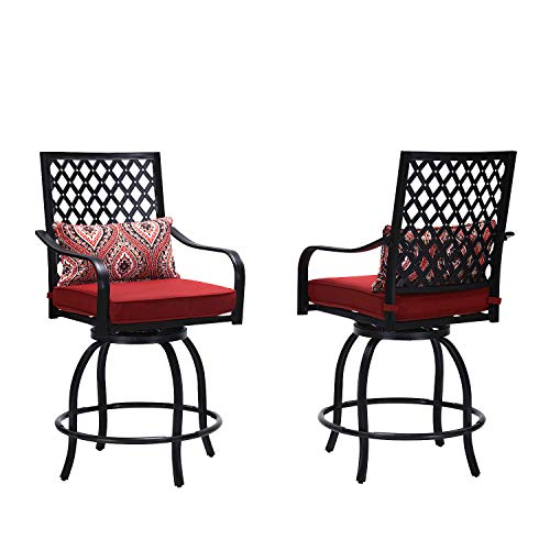 Outdoor Swivel Bar Stools-Patio Bar Height Furniture Chairs with Cushion, Set of 2
