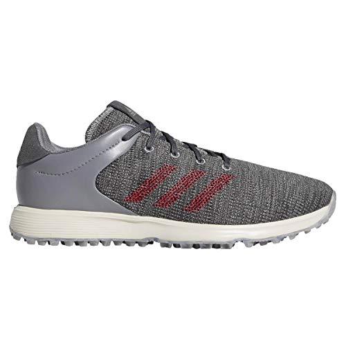 adidas Golf Mens S2G Lightweight Waterproof Spikeless Golf Shoes Grey/Burgundy 10.5UK
