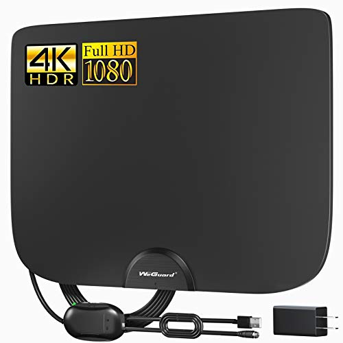 ABLEGRID TV Antenna, Indoor Amplified HD TV Antenna Up to 120-150 Miles Range, Support 4K 1080P HD VHF UHF for Local Channels,Amplifier Signal Booster and 18 Ft Coax Cable