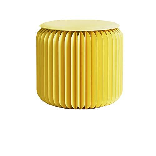 Totovy Moderno respetuoso con el medio ambiente simple simple retráctil plegable kraft taburete bajo taburete sala de estar taburete estiramiento plegable creativo simple redondo multifuncional mueble