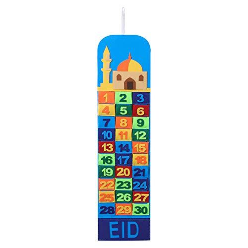 Dainzuy Filz Ramadan Kalender,Eid Mubarak Countdown Hängende Filz, Adventskalender 2021 Ramadan Dekorationen, 30 Tage Eid Mubarak Adventsdekorationen