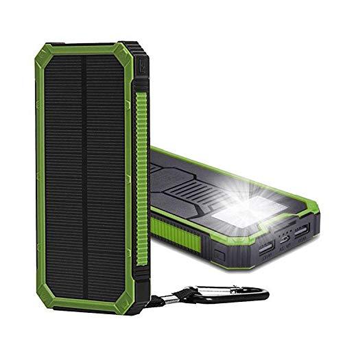 Cargador solar 20000mAh Banco de energía solar portátil con cargador dual USB Banco de energía solar Compatible con la mayoría de los teléfonos(Negro)