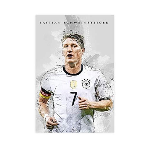 Bastian Schweinsteiger Poster mit Fußball-Star-Figur, Sport-Poster 1 Leinwand-Poster, Wandkunst-Dekor, Bild, Gemälde für Wohnzimmer, Schlafzimmer, Dekoration, 30 x 45 cm