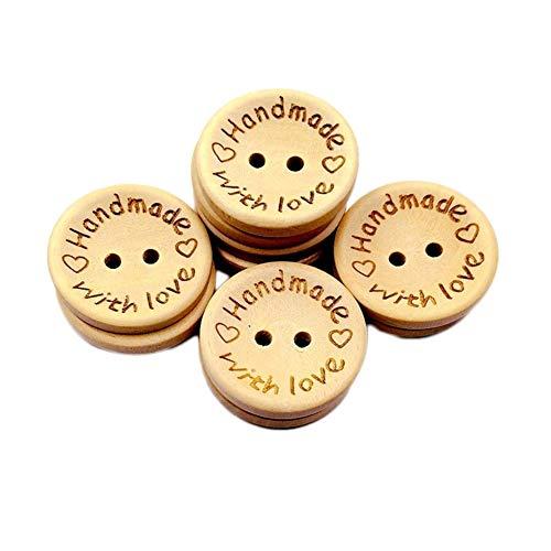 Gespout 100 Stück Handmade Knöpfe Runde Handwerk Knöpfe Holz Knopf Kleidung Deko DIY Kleine Knopf Für Nähen Und Basteln (Style B)