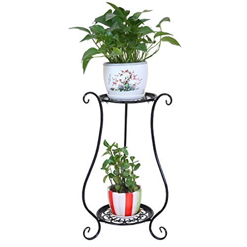 iVansa Metall Blumenständer, Pflanzenregal mit 2 Ebenen Blumentreppe für 2 Blumentopfe Blumenregal Dekoration für Haus/Garten/Terrasse/Flur, 60×33×33 cm