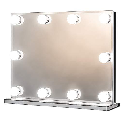 Hollywood Spiegel mit Beleuchtung, Groß Beleuchteter Schminkspiegel für Schminktisch, Beleuchtete Kosmetikspiegel mit 10 Dimmbare LED Lampen, Mehrere Farbmodi, Tischplatte oder Wandhalterung