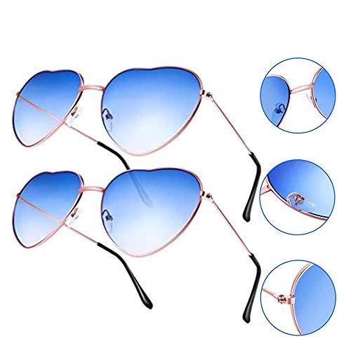 Gobesty 2 paar zonnebril in hartvorm voor dames Lolita Retro Hippy Vintage, zilveren lijst