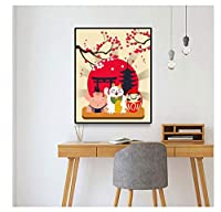 Chenjiaxu 和風キャンバス絵画ラッキーキャットポスタープリントリビングルーム寝室の壁の装飾アート家の装飾壁の写真-40X60Cmx1フレームなし