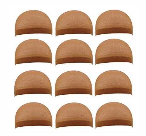 12pieces Hair Net, Wig Liner Goedkope Wig Caps For Het Maken Van Wig Spandex Netto Elastische Dome Wig Cap (6bags) (Color : Dark blonde)