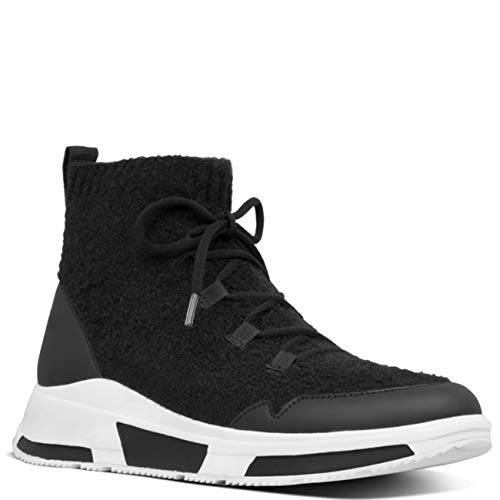 Fitflop COMFFKNIT Sock Boots Black Sneaker Damen Filz, Schwarz - Schwarz  - Größe: 40 EU