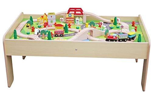 Coemo Spieltisch Holz Natur mit Holz-Eisenbahn Aktivitätentisch Multifunktionstisch 91 TLG für Kinder