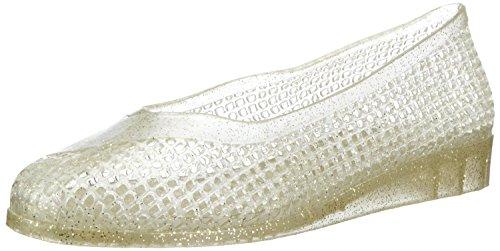 Fashy® Damskie klapki baleriny z klinowym obcasem, idealne na plażę i czas wolny, dostępne w kolorze białym lub złotym z brokatem – (Made in Germany), - złoty błyszczący - 35/36 EU