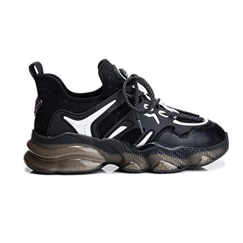 Zapatillas de Deporte para Mujer Cojín de Aire Zapatillas de Deporte con Cordones portátiles Moda Primavera Otoño Zapatos Deportivos para Caminar a Prueba de Golpes