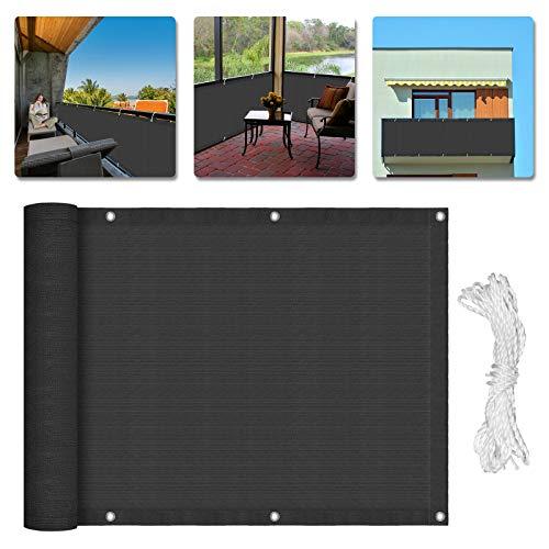 UISEBRT 90x600cm Sichtschutz Balkonbespannung Anthrazit HDPE 180 g/m² - Windschutz Sonnenschutz für den Gartenzaun oder Balkon (90x600cm,Anthrazit)