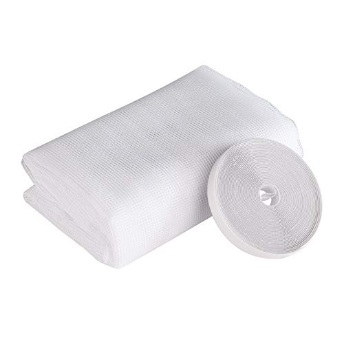 Windhager Standard Insektenschutz Plus Fliegengitter für Fenster, Insektenschutzgewebe, Fliegennetz, individuell zuschneidbar, inkl. Montage-Klettband, 130 x 220cm, weiß, 03258