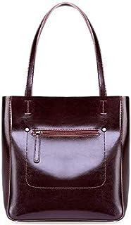 CSG New Fashion Simple Multi-function Large Capacity Shoulder Bag Shoulder Slung Leather Handbag durable (Color : Red) waterproof