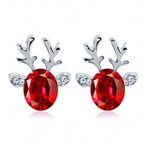Elevin(TM) 2016 Christmas Earrings Gift Luxury Three-Dimensional Christmas Reindeer Antlers Crystal Gemstone Earrings Gift (Red)