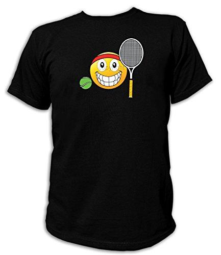 Artdiktat Herren T-Shirt - Emoji Tennis Ball & Racquet Größe L, schwarz
