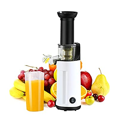 Masticating Juicer, Small Slow Juicer Cold Press Juicer machine With Upgrade Easy Clean Juicer Filter, Higher Juice Yield,120W Motor, Reverse Function,2 Juice Cup 1 Brush for Family Daily Use