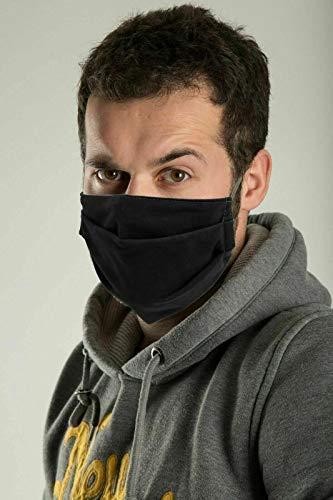 Inka - Máscara protectora para adultos lavable para la cara, protección de la nariz, reutilizable, transpirable, anti contaminación del humo, para exteriores, motocicleta, deporte, color negro