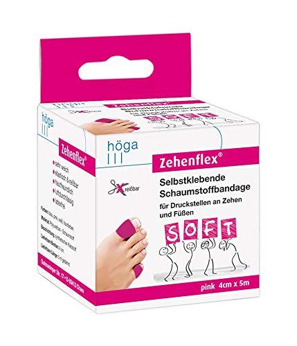 Zehenflex Pink 4cm X 5m Gedehnt. Selbstklebende Schaumstoffbandage Sehr Weich, Elastisch Und Reißbar, Hautfreundlich, Luftdurchlässig, Latexfrei
