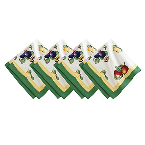 Villeroy and Boch French Garden Cotton Fabric Napkin (Set of 4), 21' x 21' (Dinner, Multicolor, 4 Count
